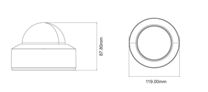 Dimensiones cámara techo